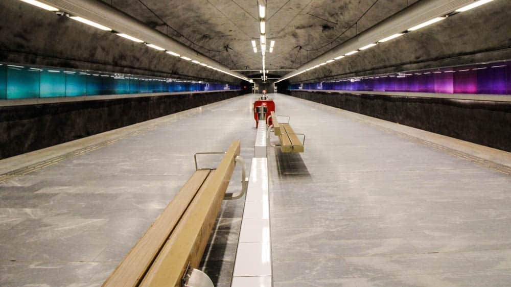 In Stockholms U-Bahnsystem: Metrostation Bagarmossen