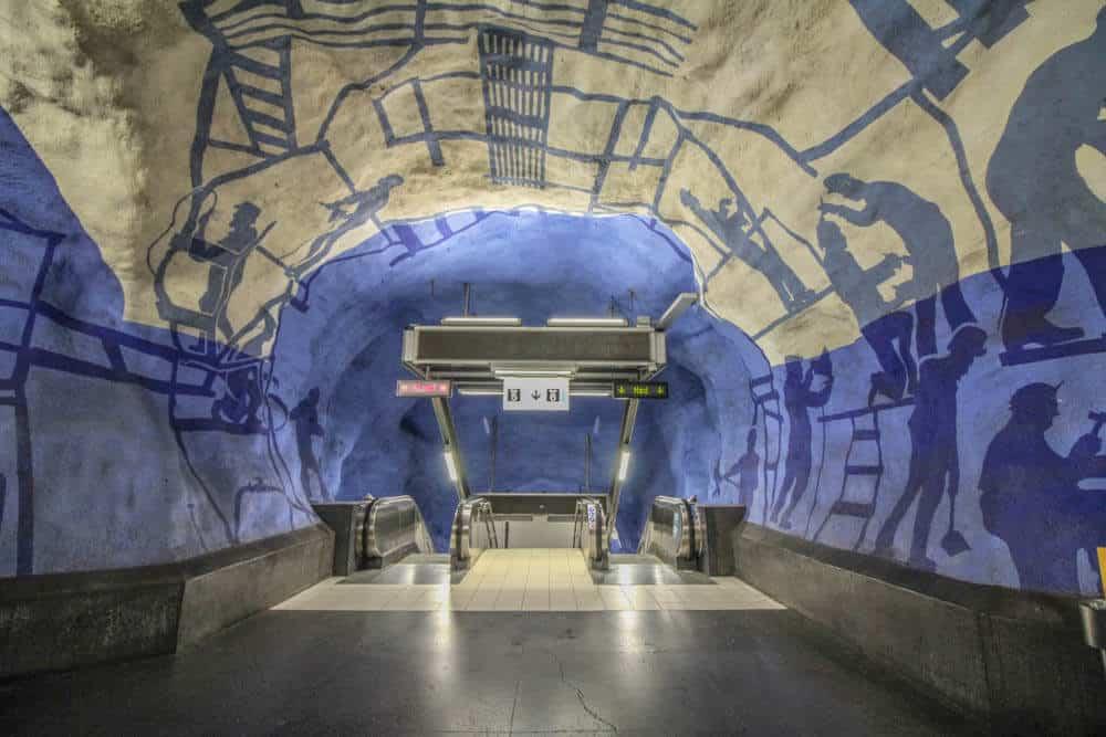 T-Centralen Blue Line Rolltreppen