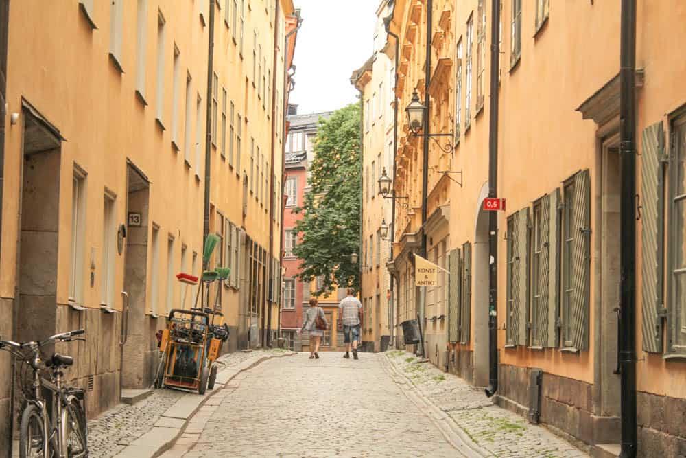 In den Straßen der Altstadt von Stockholm