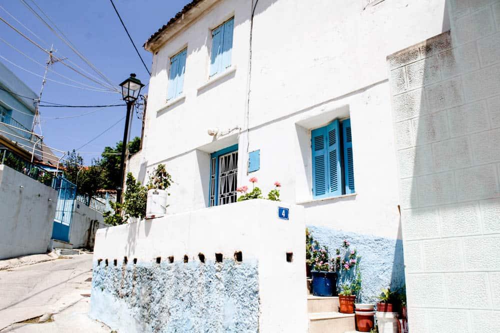 Weiß-blaues Haus auf Lemnos
