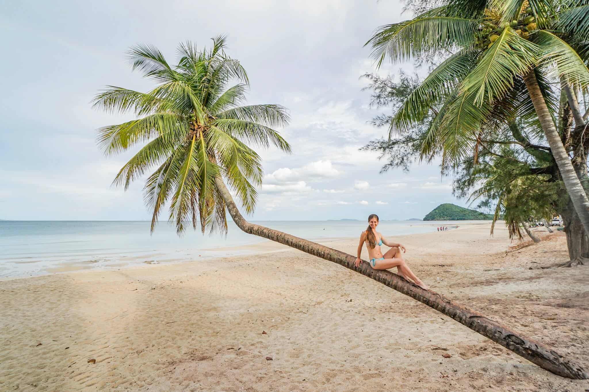 Thung Wua Lan - Chumphons schönster Strand – schiefe Palme