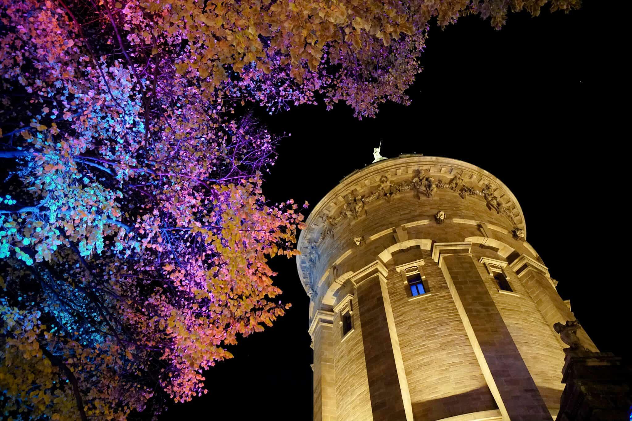 Mannheim im Winter - Der Wasserturm bei Nacht