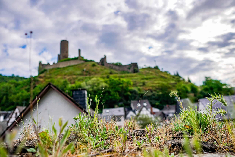 Löwenburg im Hintergrund, Monreal im Vordergrund