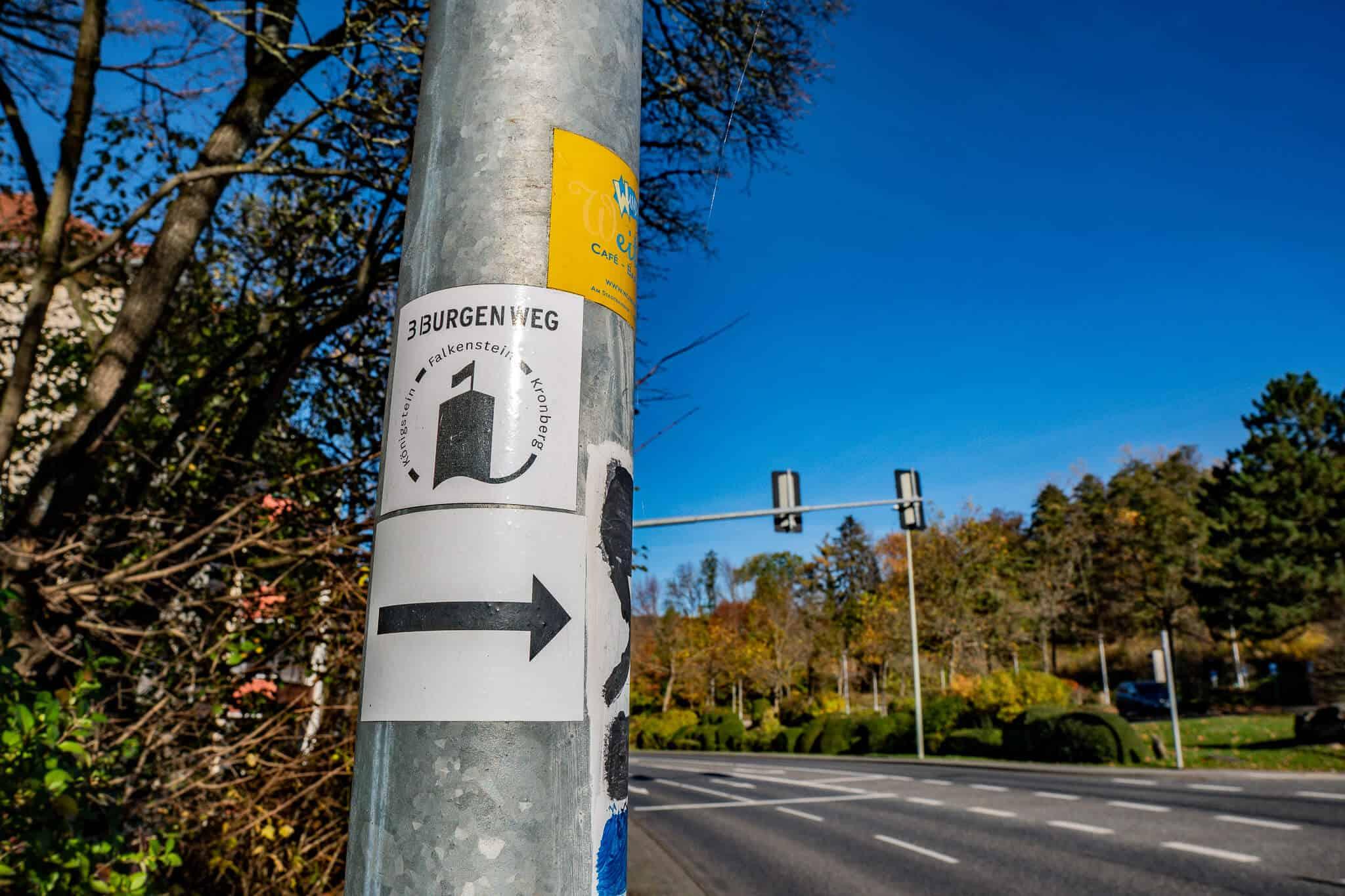 Schild Drei Burgen Weg