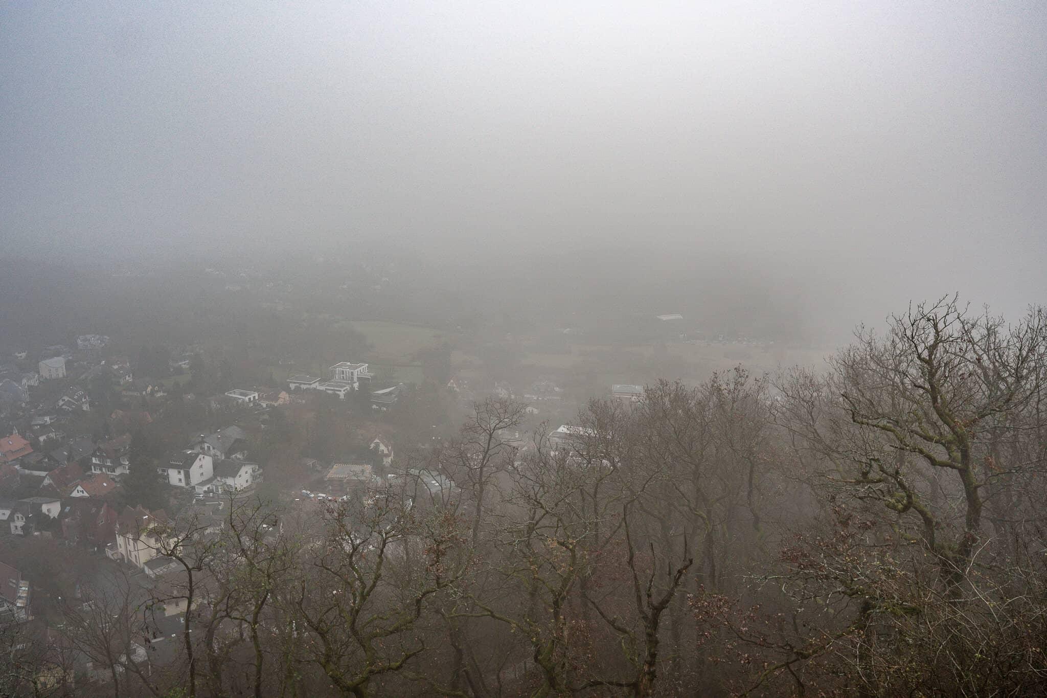 Ausblick im Nebel vom Dettweiler Tempel